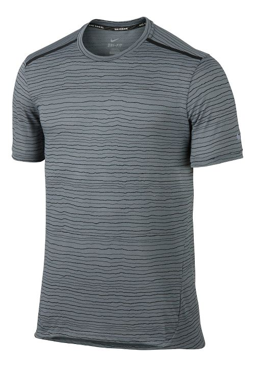 Mens Nike Dri-FIT Cool Tailwind Stripe Short Sleeve Technical Tops - Cool Grey XL