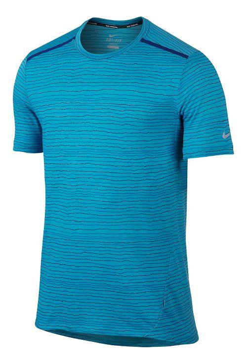 Mens Nike Dri-FIT Cool Tailwind Stripe Short Sleeve Technical Tops - Omega Blue L