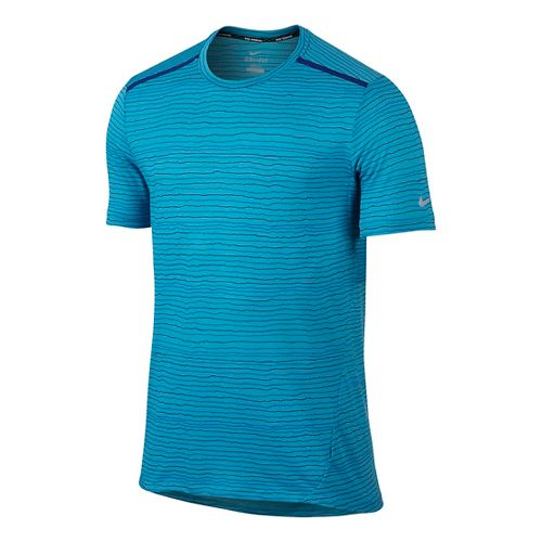 Mens Nike Dri-FIT Cool Tailwind Stripe Short Sleeve Technical Tops - Omega Blue M
