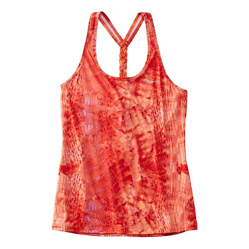Womens Saucony Strider Sleeveless & Tank Technical Tops - Hibiscus Print XS