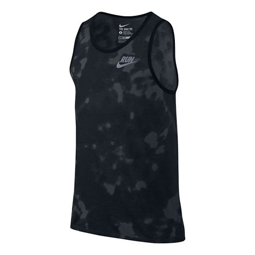 Run Tie Dye Sleeveless & Tank Technical Tops - Black/Grey M