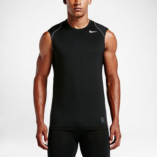 Mens Nike Hypercool Fitted Sleeveless & Tank Technical Tops - Black L