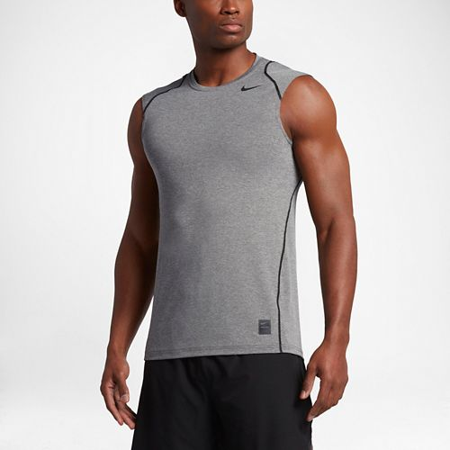Mens Nike Hypercool Fitted Sleeveless & Tank Technical Tops - Carbon Heather M