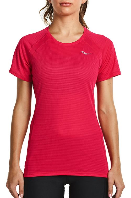 Womens Saucony Hydralite Short Sleeve Technical Tops - Raspberry XS