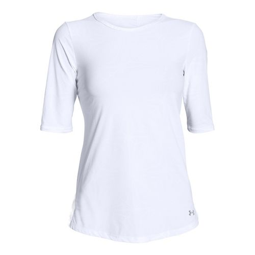 Womens Under Armour Coolswitch Run Short Sleeve Technical Tops - White L