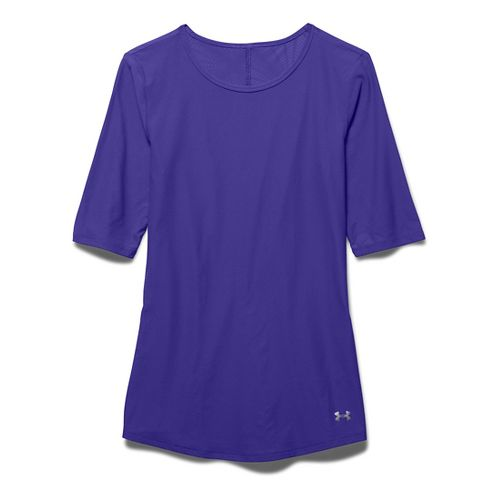 Womens Under Armour Coolswitch Run Short Sleeve Technical Tops - Deep Orchid M