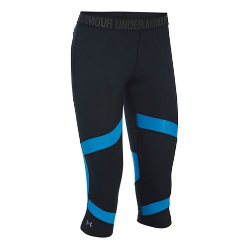 Womens Under Armour Coolswitch Capris Pants - Black/Water M
