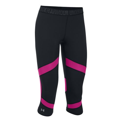Womens Under Armour Coolswitch Capris Pants - Black/Magenta L