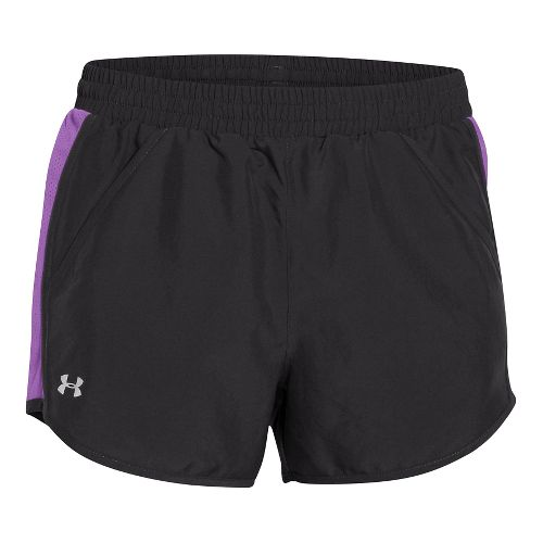 Womens Under Armour Fly By Run Lined Shorts - Black/Magenta XL