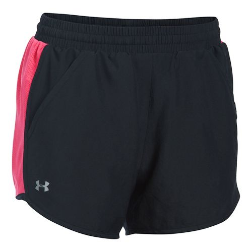 Womens Under Armour Fly By Run Lined Shorts - Black/Pink Sky S