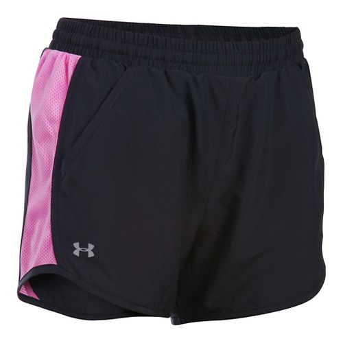 Womens Under Armour Fly By Run Lined Shorts - Black/Verve Violet S