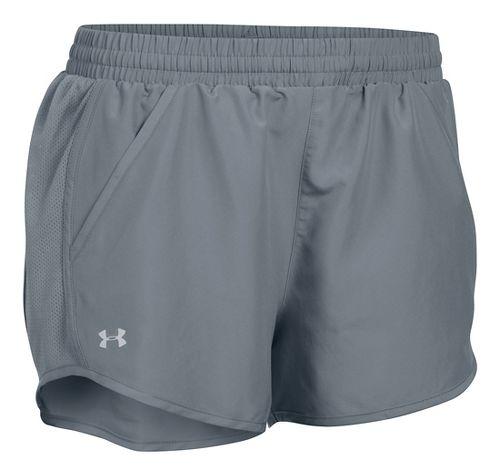Womens Under Armour Fly By Run Lined Shorts - Steel/Steel XS
