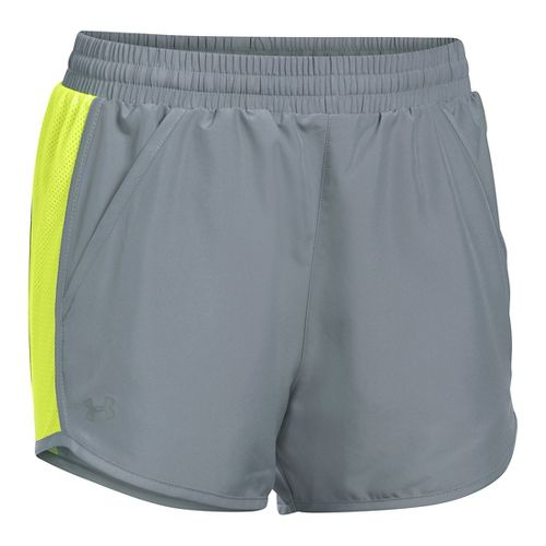 Womens Under Armour Fly By Run Lined Shorts - Steel/X-Ray L