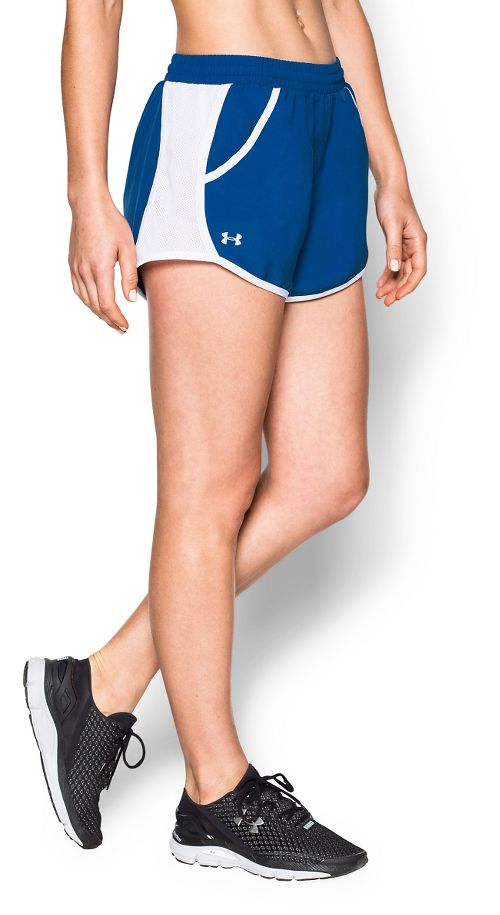 Womens Under Armour Fly By Run Lined Shorts - Royal S