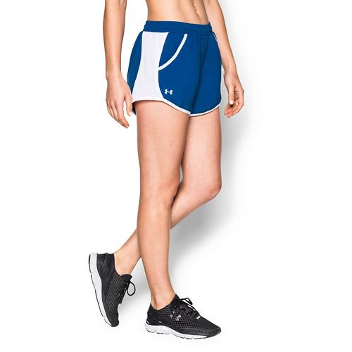 Womens Under Armour Fly By Run Lined Shorts - Royal L
