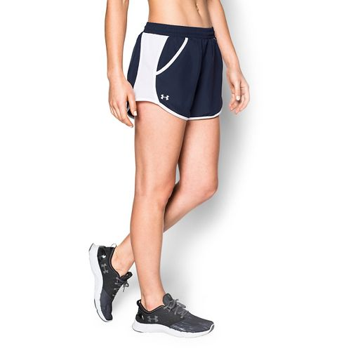 Womens Under Armour Fly By Run Lined Shorts - Midnight Navy XL