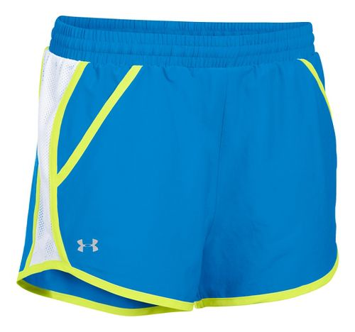 Womens Under Armour Fly By Run Lined Shorts - Water/White S