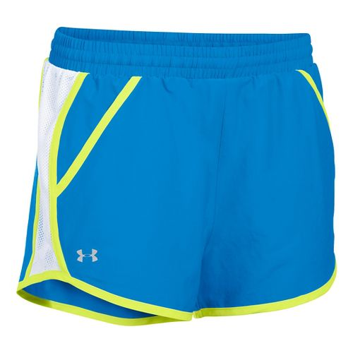 Womens Under Armour Fly By Run Lined Shorts - Water/White XL