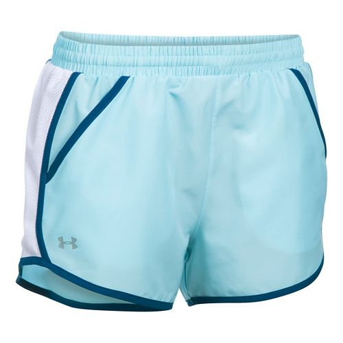 Womens Under Armour Fly By Run Lined Shorts - Maui/White M