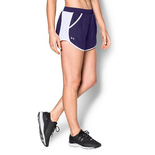 Womens Under Armour Fly By Run Lined Shorts - Purple L