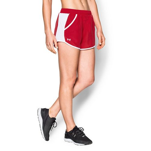 Womens Under Armour Fly By Run Lined Shorts - Red M