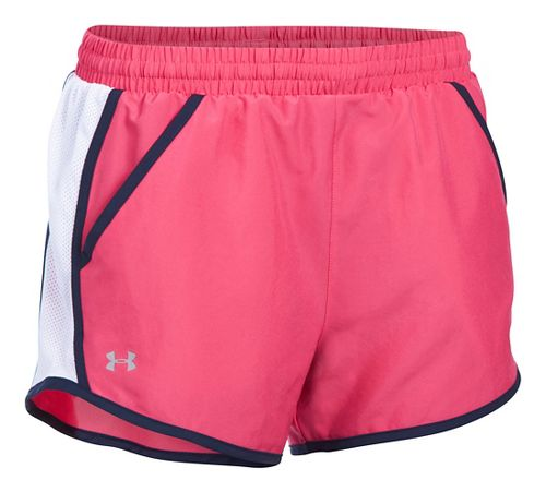 Womens Under Armour Fly By Run Lined Shorts - Pink Sky/White S