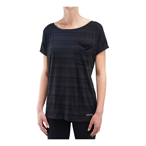 Womens Saucony Relay Short Sleeve Technical Tops - Black XS