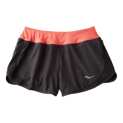 Womens Saucony Impulse Shorts - Black/Hibiscus XS