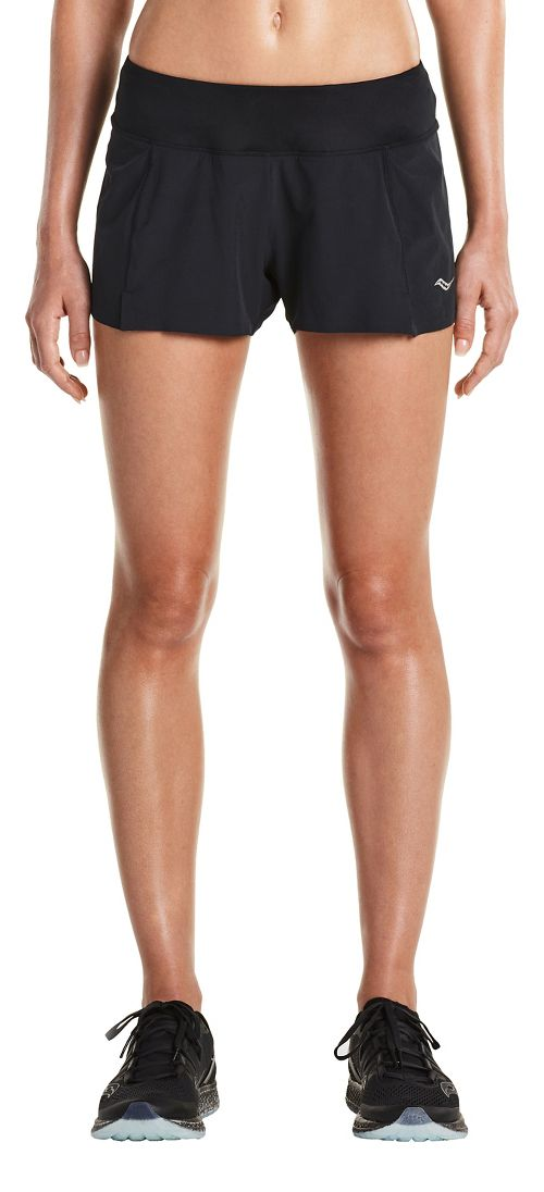 Womens Saucony Pinnacle Lined Shorts - Black XL
