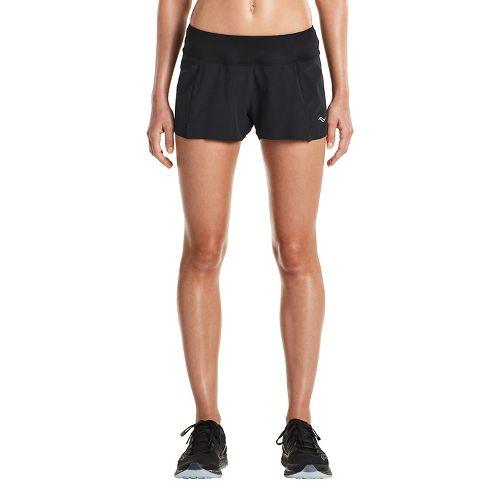 Womens Saucony Pinnacle Short Lined Shorts - Black XL