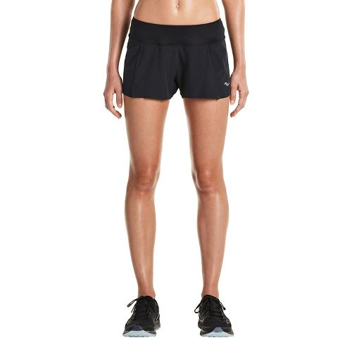 Womens Saucony Pinnacle Lined Shorts - Black XS