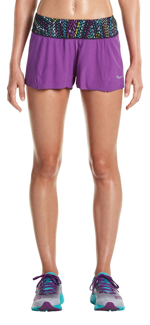Womens Saucony Pinnacle Lined Shorts - Dahlia L