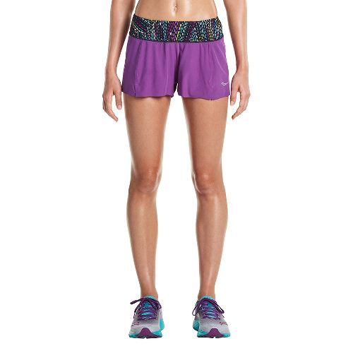 Womens Saucony Pinnacle Lined Shorts - Dahlia XL