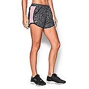 Womens Under Armour Fly By Printed Run Lined Shorts - Black L