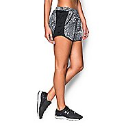 Womens Under Armour Fly By Printed Run Lined Shorts - Black/White XS