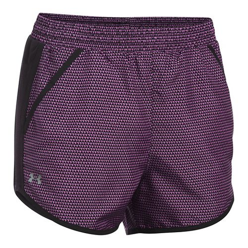 Womens Under Armour Fly By Printed Run Lined Shorts - Black/Verve Violet S