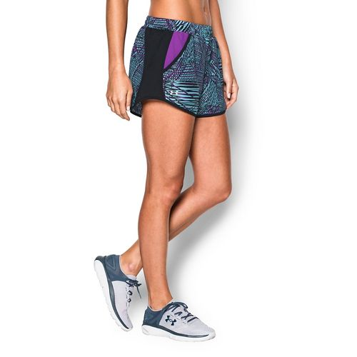 Womens Under Armour Fly By Printed Run Lined Shorts - Sky Blue/Magenta M