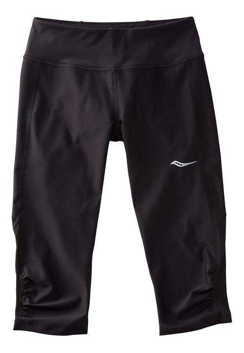 Womens Saucony Scoot Mini Capris Pants - Black/Black 1X