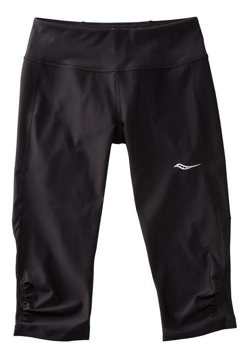 Womens Saucony Scoot Mini Capris Pants - Black/Black M