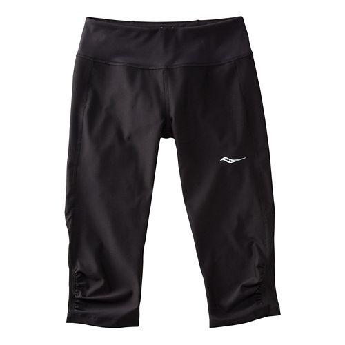 Womens Saucony Scoot Mini Capris Pants - Black/Black L