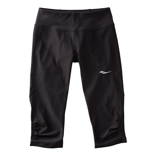 Womens Saucony Scoot Mini Capris Pants - Black/Black XS
