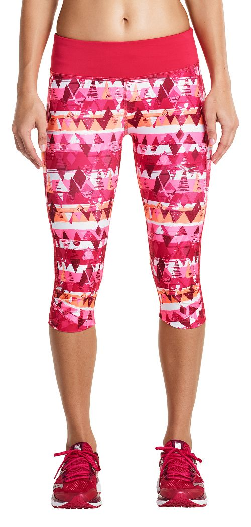 Womens Saucony Scoot Mini Capris Pants - Raspberry XS
