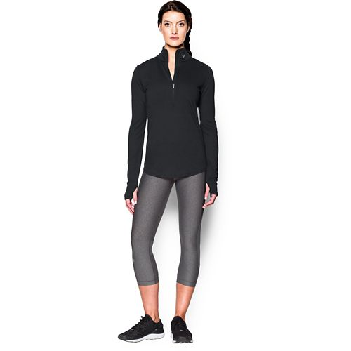 Womens Under Armour Streaker 1/2 Zip Long Sleeve Technical Tops - Black/Black XL