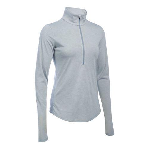 Womens Under Armour Streaker 1/2 Zip Long Sleeve Technical Tops - White XS