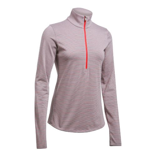 Womens Under Armour Streaker 1/2 Zip Long Sleeve Technical Tops - Heather/Pomegranate M