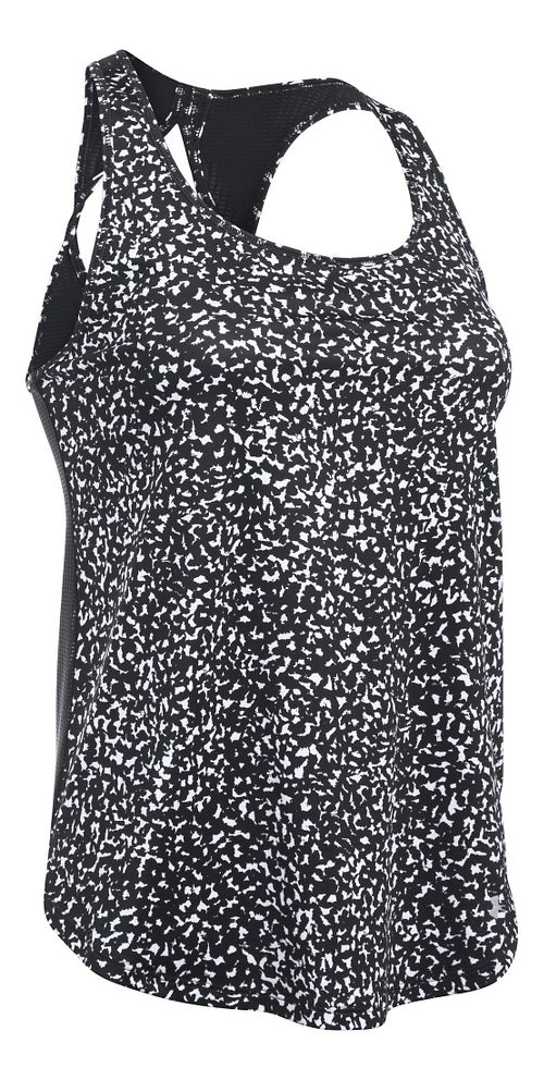 Womens Under Armour Fly By Printed Run Sleeveless & Tank Technical Tops - Black/White XS