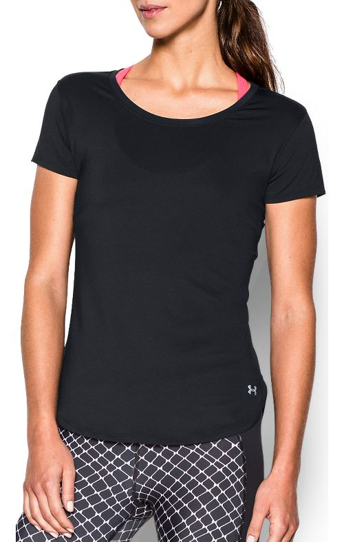 Womens Under Armour Fly By Short Sleeve Technical Tops - Black L