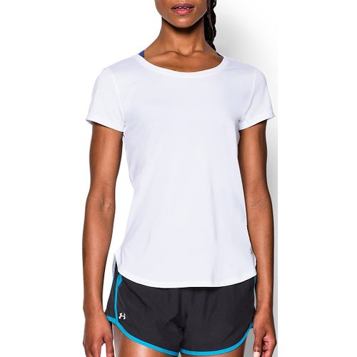 Womens Under Armour Fly By Short Sleeve Technical Tops - White M