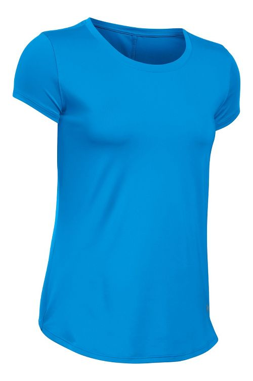Womens Under Armour Fly By Short Sleeve Technical Tops - Water S