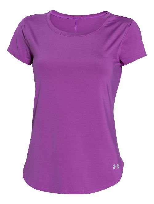 Womens Under Armour Fly By Short Sleeve Technical Tops - Mega Magenta S